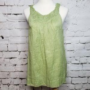 Talbots Green Crinkle Pleated Sleeveless Top